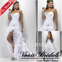 Vnaix IW011 In Stock Cheap Organza Ruffle Beaded Front Short And Long Back Wedding Dress 2014