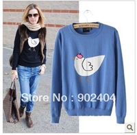 201311 New  Fashion Women Round Neck Long sleeve Cute Chick Print Thin Sweater sweaters Ladies casual outwear New