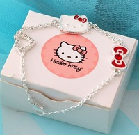 Christmas Gift Fashion hello kitty bow heart silver color enamel womens girls bracelet cute jewelry wholesale