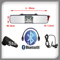 3.5 inch TFT LCD car bluetooth handsfree car kit rearview mirror reverse camera system with wireless backup camera bluetooth