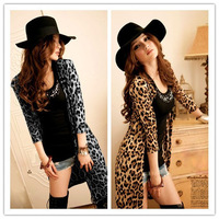 Hot Sale Women Girls Ladies  Fashion Sexy Jacket Mid-length Sleeve Leopard Cardigan Coat Long Coat Outwear, Free & Drop Shipping