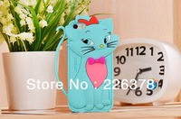 Free shipping 3D lovecat smile strap cute Tomcat bow Soft silicone gel rubber animal Case handbag fox cases For iphone 5 5G 5S