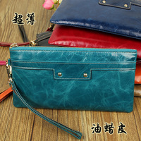 Oil waxing ultra-thin leather wallet long design women's genuine leather wallet
