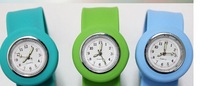 free shipping 50pcs/lot silicone slap watch, kid slap watch children watches 16 colors simple plastic bag packaging