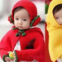 1set Hat+Scarf+Glove Child winter knitted cloak baby child cape hat gloves Flower children's Shawls,Girls scarves Ball shawls
