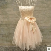 Free Shipping 2013 New women bridemaid dress bow strapless dress, halter straps evening dress white/champagne with tape as gift
