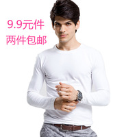 high quality Autumn and winter basic shirt low collar velvet thermal underwear high elasticity milk silk male
