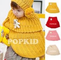 1set hat+scarf Child winter Cute Bear hats Hat Caps fashion large cape thermal cape baby cloak Cotton Girls Warm Cap