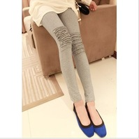 Autumn all-match tight-fitting Women ankle length trousers knee ruffle hem grey legging