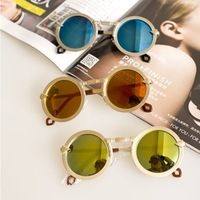 Fashion Colorful Round sunglasses for men and women Reflective sunglasses metal frame sunglasses Wholesale Free Shipping