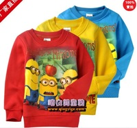 Free shipping 2014 children minion printing long sleeve T shirt kids pullover sweatshirt