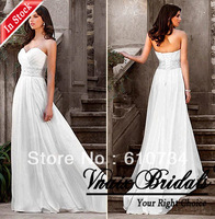 Vnaix IW014 Hot Sale Cheap In Stock Sweetheart Beaded Beach Elegant Chiffon Fabric Wedding Dress 2014