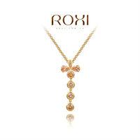 ROXI Brand hot sale pendant necklace cross long crystal necklaces vintage jewelry 18k rose gold necklacegirl chain necklace