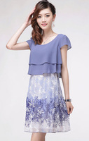Free ship 8079 women's chiffon one-piece dress fashion slim one-piece dress