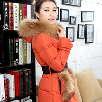 Long design slim medium-long down coat down coat female pocket fur collar medium-long slim down coat  free shipping