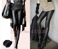 Plus thick velvet stitching leather were skinny  big yards ladies winter boots pants 032