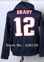 Wholesale Retail 2013 Fahshion New England #12 Tom Brady Blue Men's Football Hoodies sweatshirts Embroidered Logo Size M-XXXL