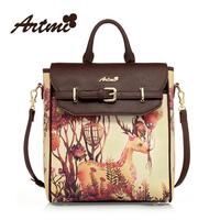 Artmi 2013 fashion vintage print women's  PU high quality backpack freeshipping