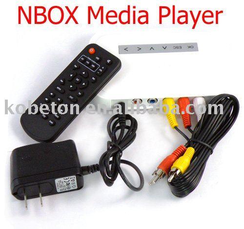 NBOX RMVB RM MP3 AVI MPEG Divx HDD TV USB SD Card Media Player Remote USB HDD Player media player Free Shipping(China (Mainland))