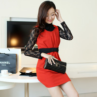 2013 spring and autumn women's plus size casual high waist slim woolen women one-piece dress midguts