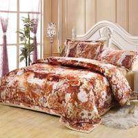 Home textile satin silk jacquard piece bedding set bed sheets 100% cotton wedding bedding
