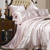 Manterol silk yarn dyed jacquard four piece set sericiculture silk bedding