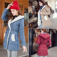 Free ship Thickening medium-long berber fleece wadded jacket female outerwear women's cotton-padded jacket 4 0622