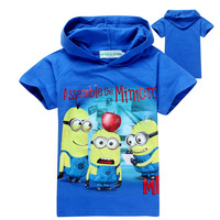 2014 Summer hoodies,fashion character Despicable Me 2 minions children T shirts boys girls hoodies baby short sleeve hooded