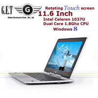 "11.6"" Win8 Ultrabook Laptop Computer Rotating Touch screen 4G/500G/32G SDD Intel Celeron 1037U 1.8GHz Dual-core (R116 Celeron)"