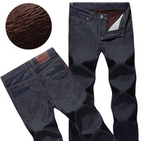 2013 male thickening plus velvet jeans male straight thermal trousers tidal current male trousers