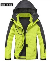 Women's Sports Coat Fashion 2in1 Double Layer Hiking Jacket 2014 Winter New Outdoor Waterproof Ski Suit Free Shipping