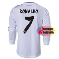 #7 Cristiano Ronaldo Real Madrid Long Sleeve Jersey 2013-2014 Home Thailand Quality Real Madrid Ronaldo Jersey Free Shipping
