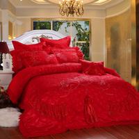 100% cotton satin jacquard piece set red lace bed cover multiple bedding set