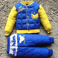 On Sale!! Winter Fashion Kids Outerwear Clothing Set Baby Jackets Unisex Kids Down Coats + Pants Blue,Yellow Free Shipping