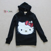 Free shipping + new winter trade of the original single cartoon pattern black hooded pullover sweater and long sections
