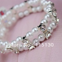 Elegant Double Layered Stretchy Pearl Crystal Wrap Bracelet Sets For Women Pearl Charm Wristband Fashion Jewelry Wholesale