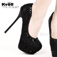 Kvoll sexy powder lace ultra high heels platform women's spring rhinestone shoes