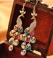 Free shipping (Min order $10)2013 Fashion accessories delicate  peacock vintage multicolor bohemian drop earrings A0338