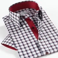 New Color block smartfive 100% cotton plaid casual shirt fashion 100% men's cotton shirt short-sleeve  free shipping