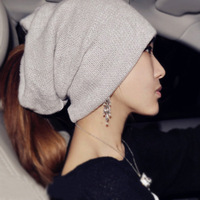 Wide ribbon knitted ear hat female knitted hat autumn and winter wigs pile cap
