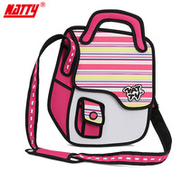 New 3D 2D cartoon bag messenger bag fashion handbag best gift for kids Free Shipping