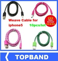 Wholesale10pcs/lot 8 Colors length 1m High Quality Weave Cable for iphone 5 New Mobile Phone Cables Free Shipping