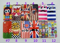 Fashion UK USA Flag Cartoon Owl Stripe Tongue Mouth TPU & IMD Gel Cover Case For iPhone 4 4S 4G Free shipping New Arrival 100pcs