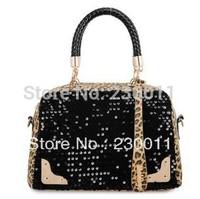 Leopard Sequin Portable Bag Mobile Messenger Handbags Zipper Handbag