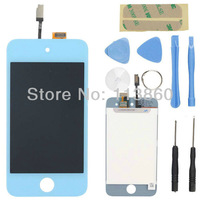 New Replacement LCD Screen Display Touch Digitizer Glass Assembly for iPod Touch 4 4G 4th Blue Color+Opening Tools Free shipping