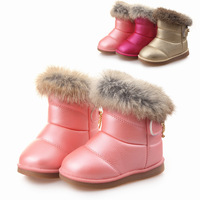 2013 female child winter boots waterproof rabbit fur thermal winter boots child snow boots baby cotton-padded shoes