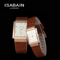 Isabain fashion rose gold genuine leather quartz lovers watch