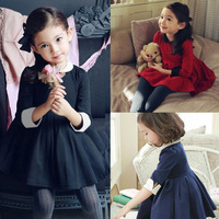 female child winter elegant winter dresses peter pan collar puff one-piece dress girls' dresses