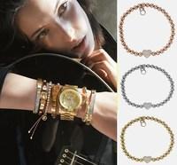 Freeshipping Fashion Jewelry elegant 4-color classic bead crystal heart elastic bracelet