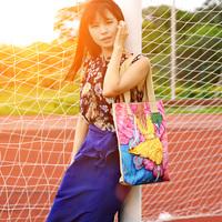 Free Shipping Personalized florid multicolour abstract pattern bag women's handbag canvas shoulder bag canvas bag eco-friendly